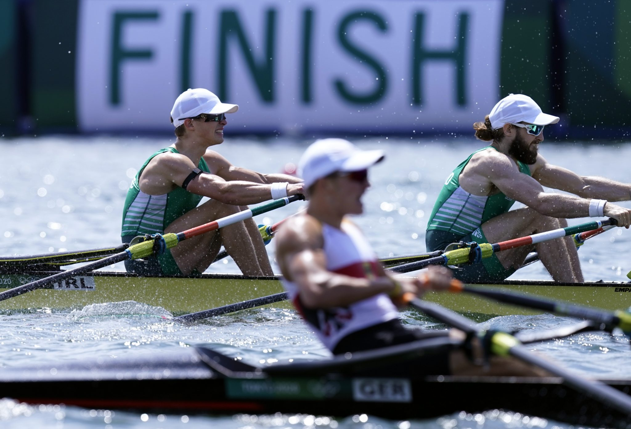 Ireland's Fintan McCarthy and Paul O'Donovan on the way to winning in the Lightweight Men's Double Sculls Final