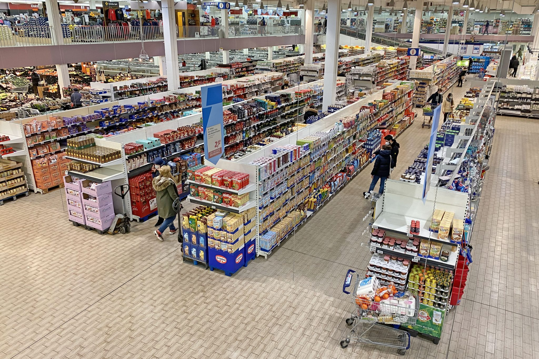 Aerial view of a supermarket in Munich, Germany in February 2021