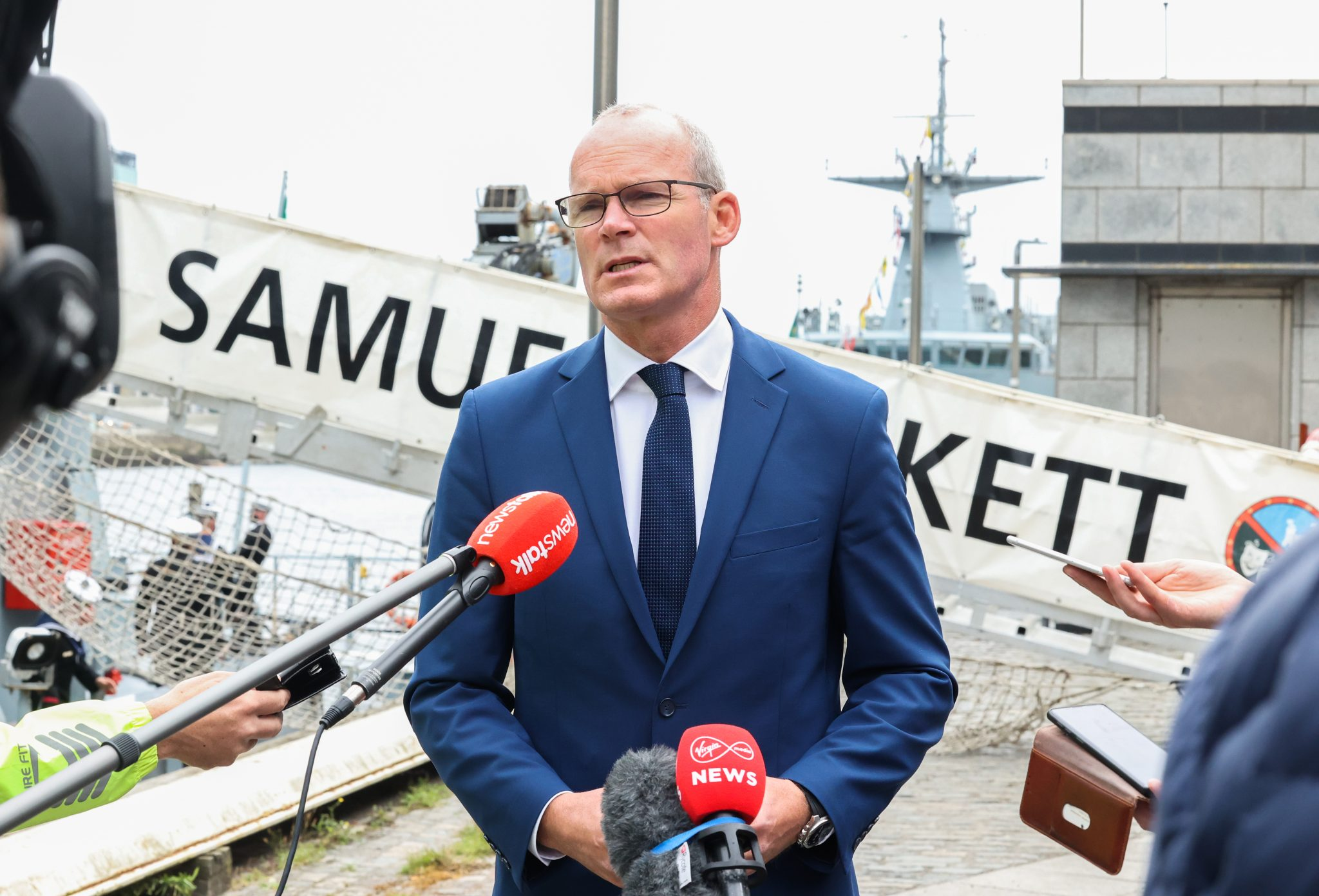 Foreign Affairs Minister Simon Coveney after disembarking the L.É. Samuel Beckett on Sir John Rogerson's Quay, 01-09-2021. Image: Sam Boal/RollingNews