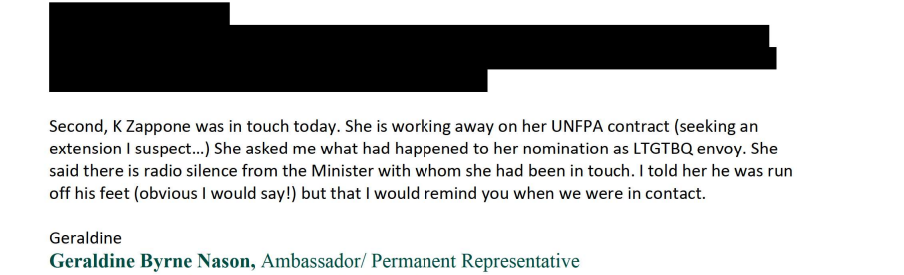 Email from Geraldine Byrne Nason to Department of Foreign Affairs Secretary General Niall Burgess