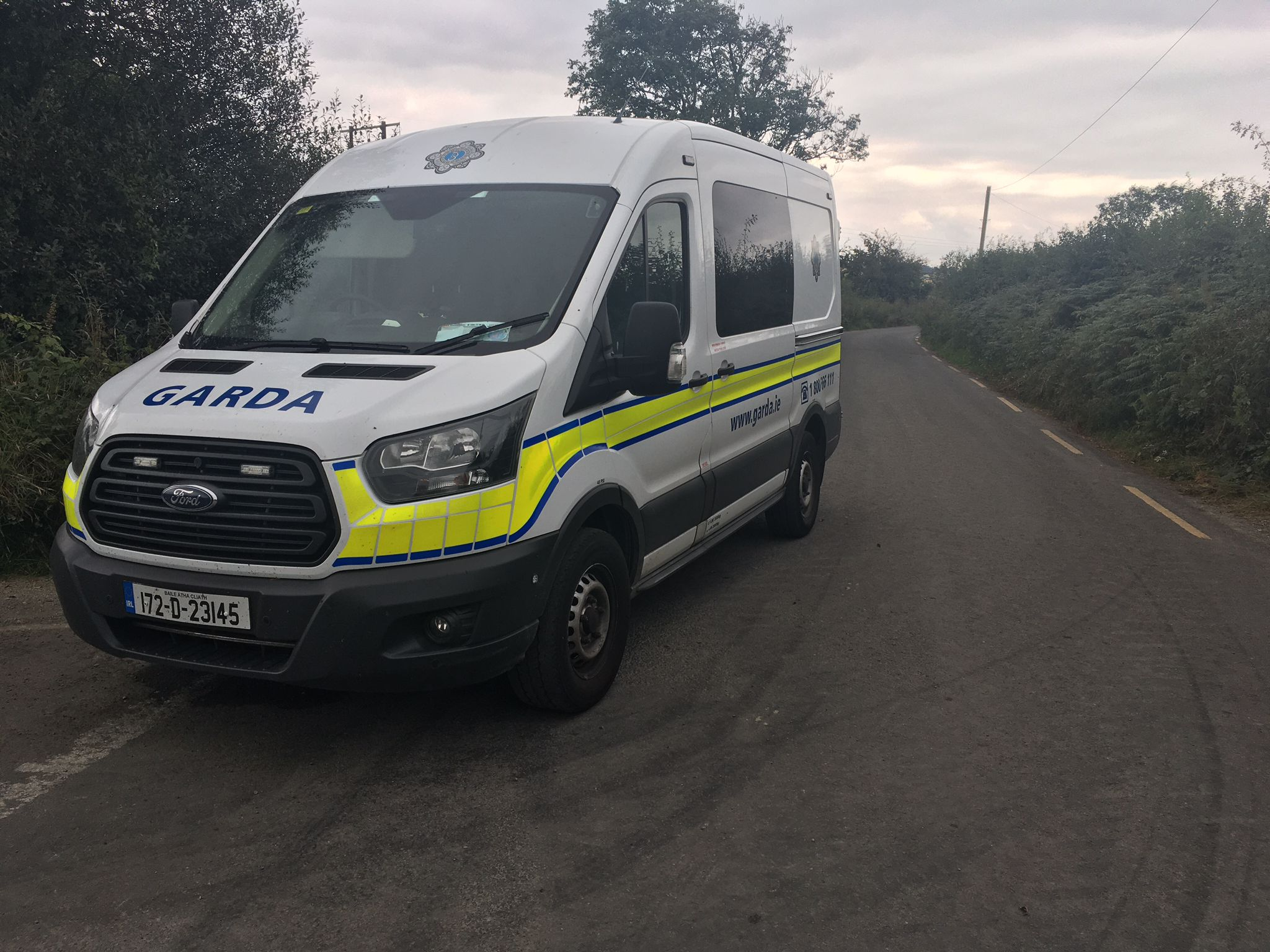 A garda van near the scene of a suspected double murder-suicide near Lixnaw in County Kerry, 08-09-2021. Image: Paul O'Donoghue/Newstalk