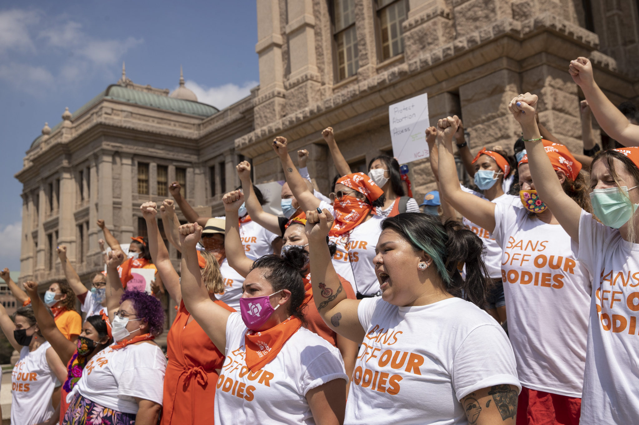 Women protest against the six-week abortion ban at the Capitol in Austin, Texas