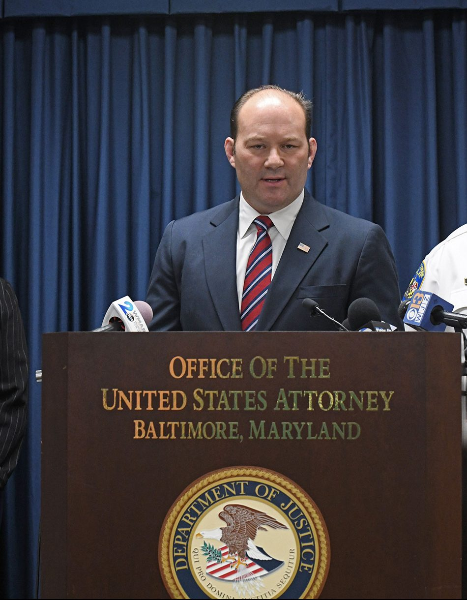 Acting US Attorney Jonathan Lenzner speaks during a news conference in Baltimore, Maryland in June 2021