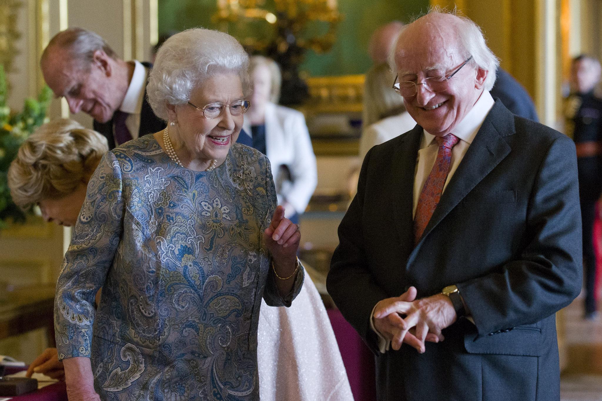 Britain's Queen Elizabeth accompanies President Michael D Higgins at Windsor Castle