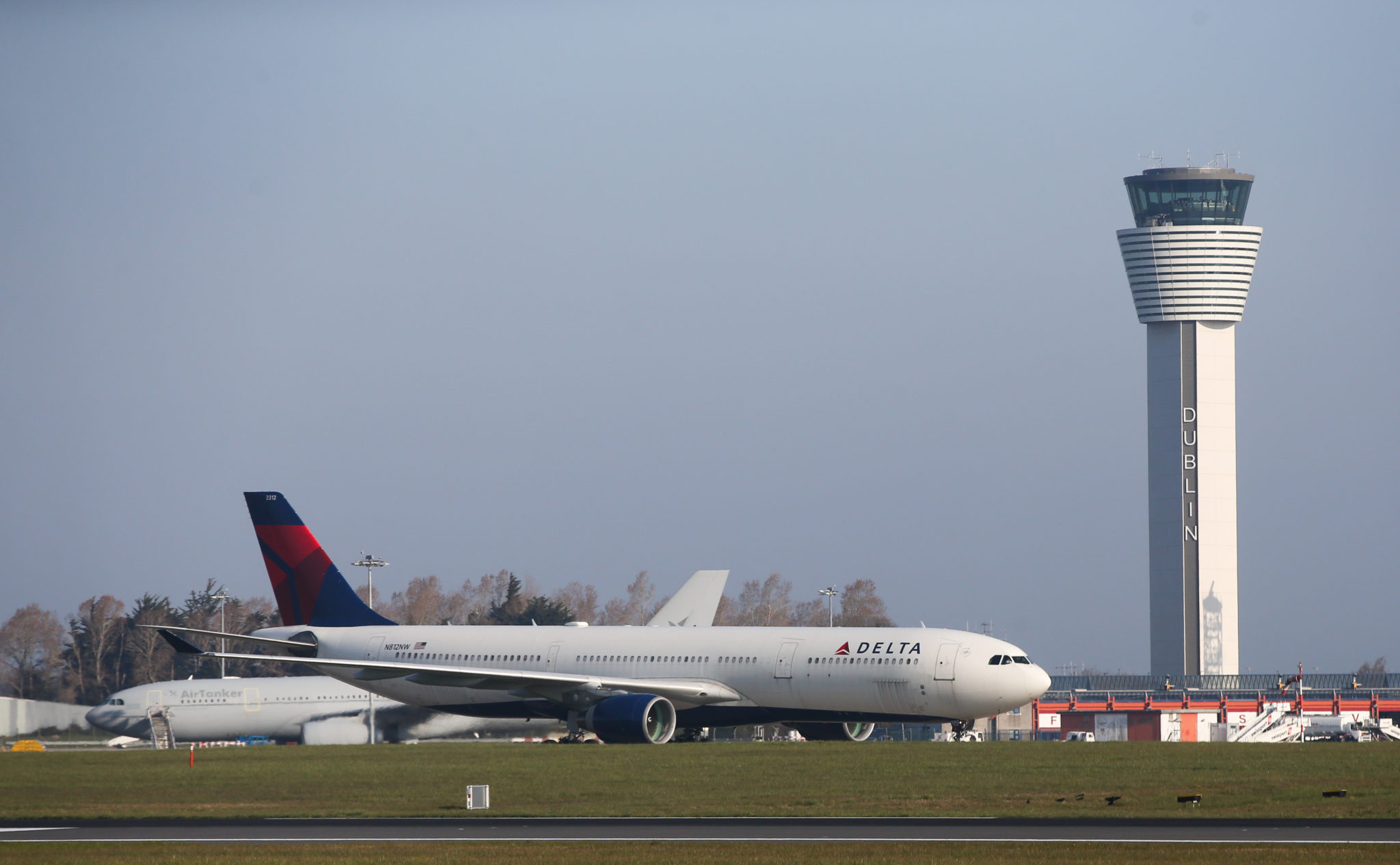 A Delta Airlines plane landing at Dublin Airport in April 2021.