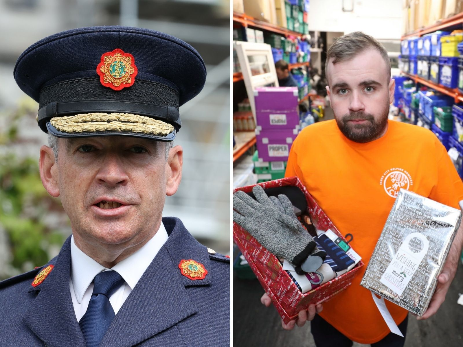 Composite image shows Garda Commissioner Drew Harris speaking at a ceremony to award deceased, retired and serving members of An Garda Síochána with Scott Medals for Bravery at Dublin Castle, and Anthony Flynn at an Inner City Helping Homeless warehouse in Dublin.