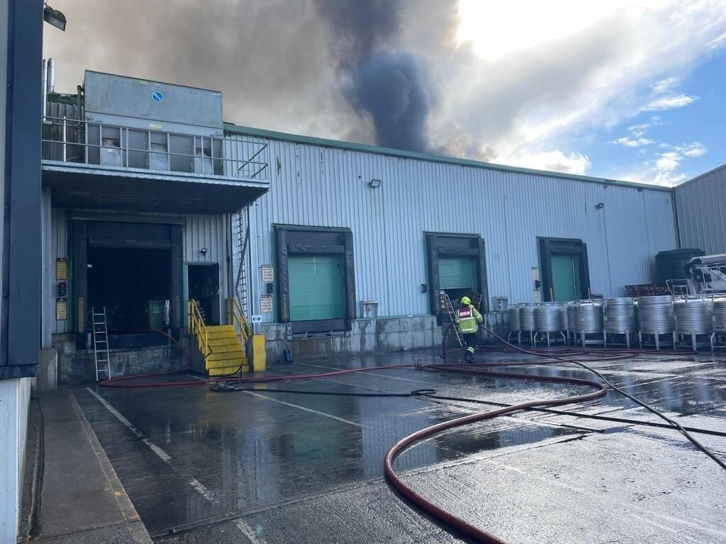 A serious fire at the Glenisk plant in County Offaly. Image: Offaly County Council.
