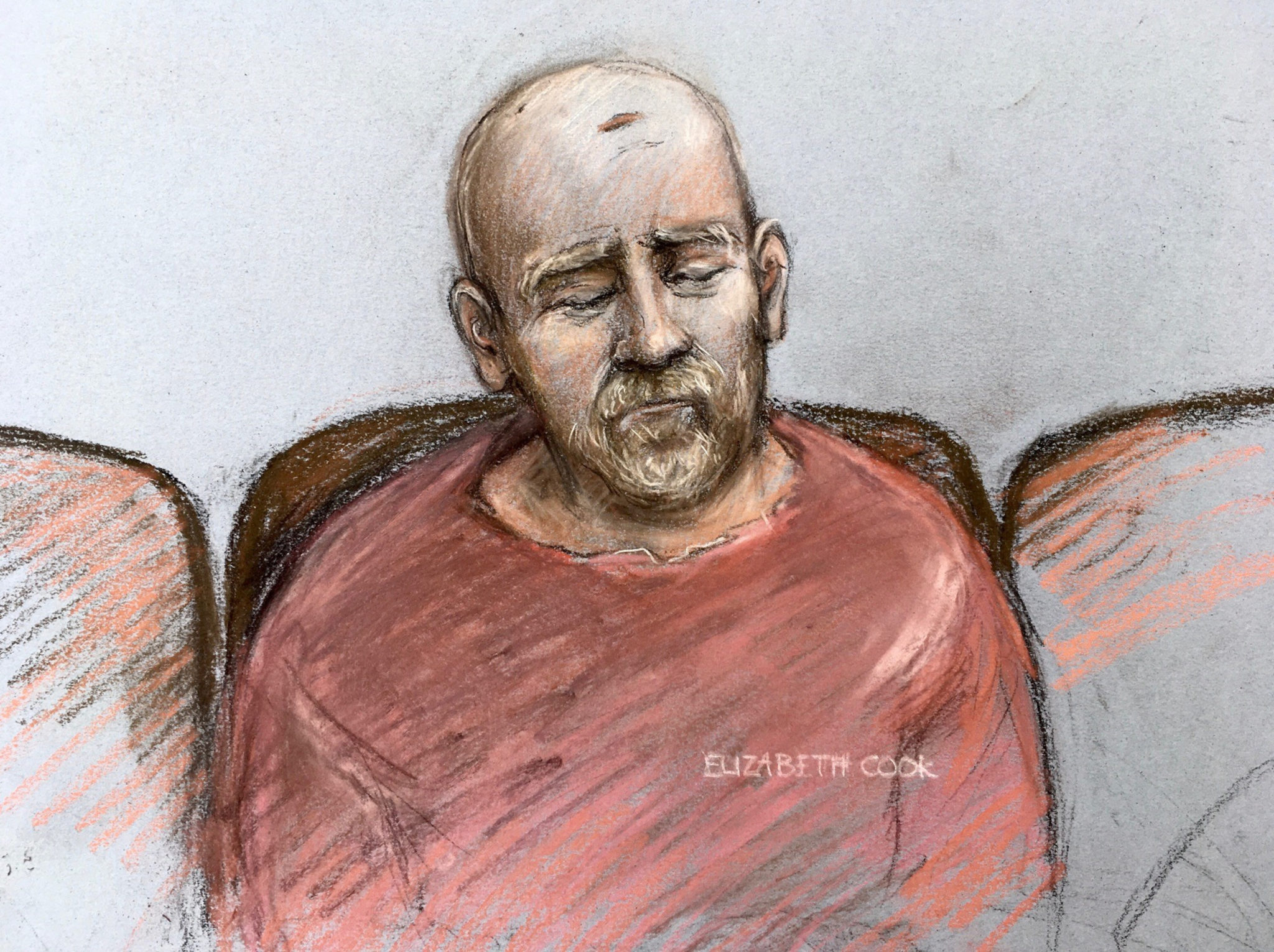 File photo of a court artist sketch by Elizabeth Cook of Wayne Couzens, making his first appearance at the Old Bailey in London, England by video link from jail.