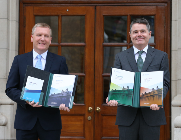 The Minister for Public Expenditure and Reform Michael McGrath and Minister for Finance Paschal Donohoe outside Government Buildings
