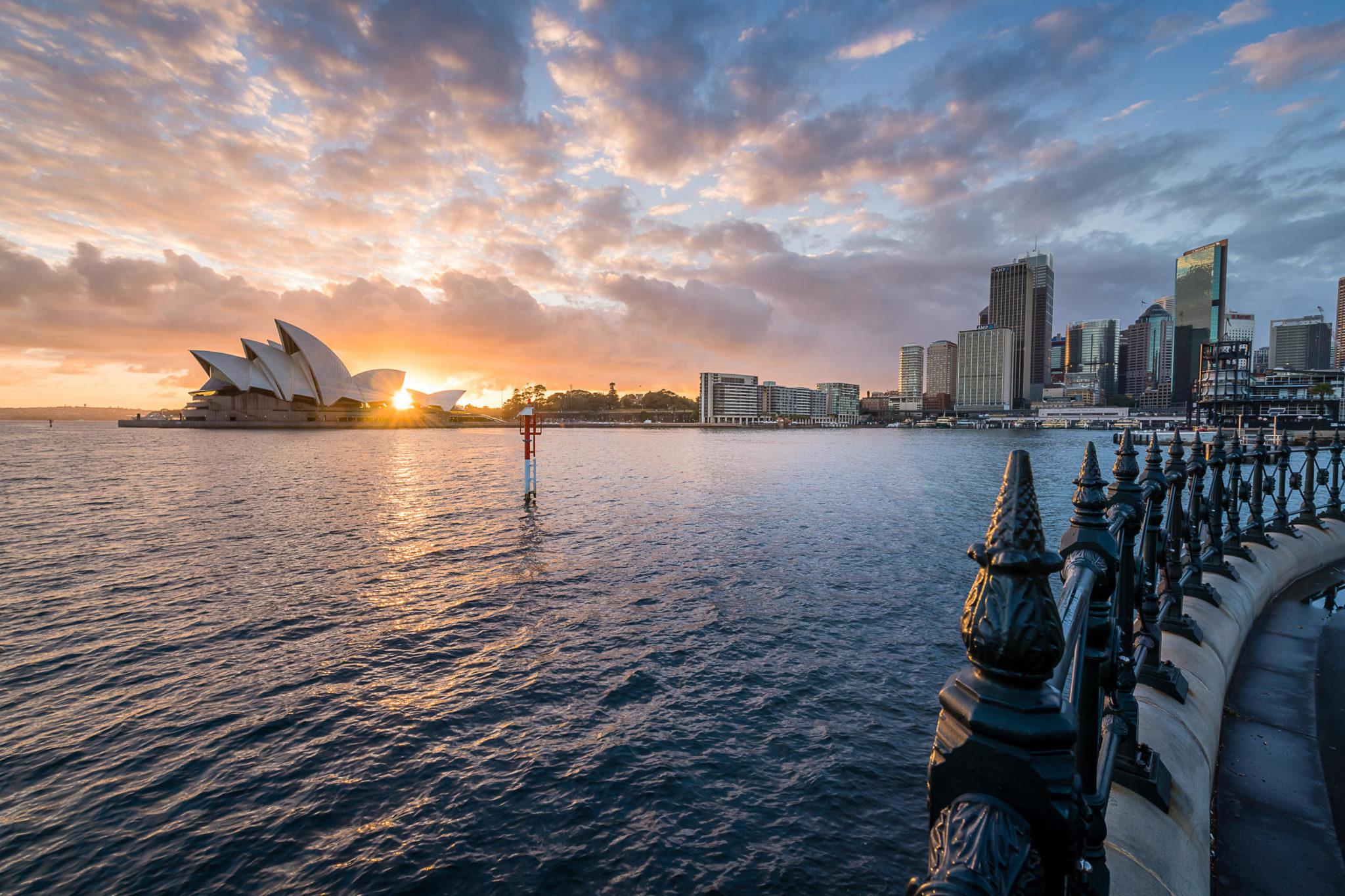 Dawn from Dawes Point in Sydney, Australia in July 2018