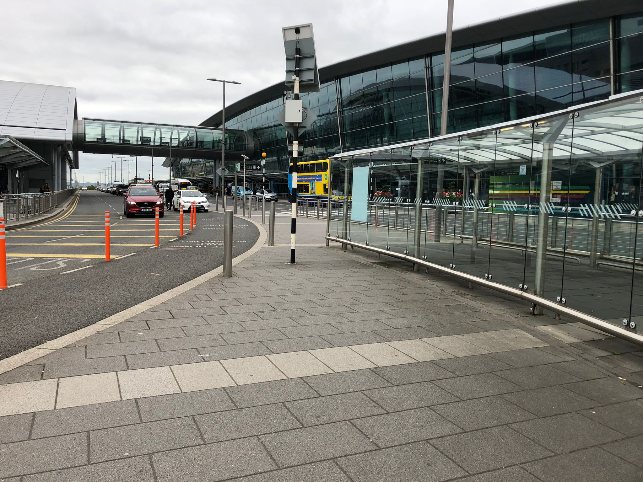 Taxis and a bus are seen at Dublin Airport in October 2021